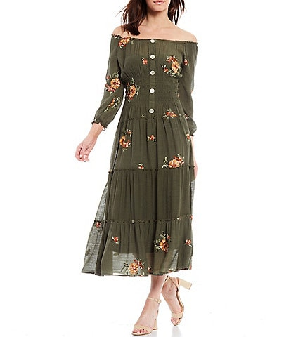 Figueroa & Flower Petite Size Veronica Embroidered Off-The-Shoulder Tiered Maxi Dress