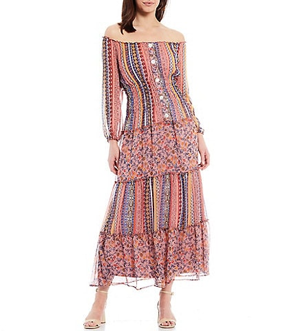 Figueroa & Flower Petite Size Veronica Mixed Print Off-The-Shoulder Smocked Waist Detail Tiered Maxi Dress