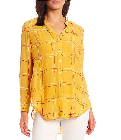 Figueroa & Flower Roxy Embroidered Plaid Roll-Tab Sleeve Button Down Tie-Front Top