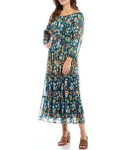 Figueroa & Flower Veronica Floral Print Off-the-Shoulder Tiered Midi Dress