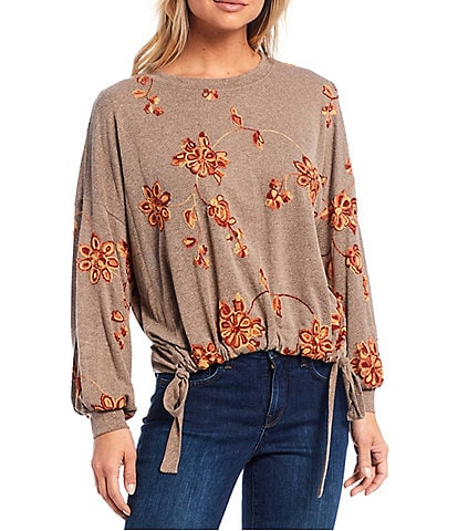Figueroa & Flower Wanda Floral Embroidered Knit Long Sleeve Cinched Hem Top