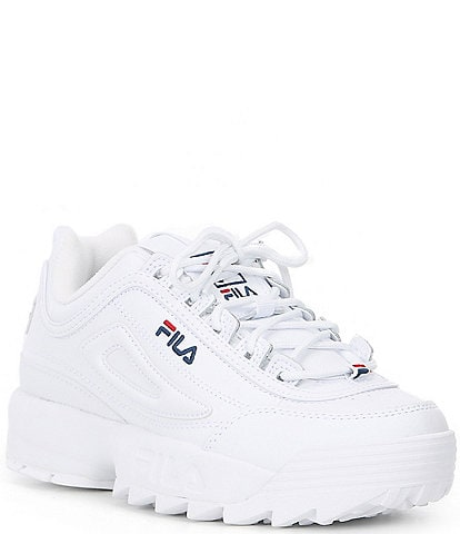 FILA Women's Disruptor II Premium Leather Lace-Up Sneakers