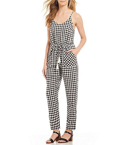 First Monday Gingham Tie Waist Jumpsuit