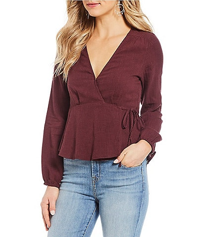 First Monday Long Sleeve Wrap Top