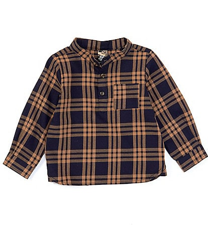 First Wave Baby Boys 12-24 Months Plaid Long Sleeve Button Front Shirt