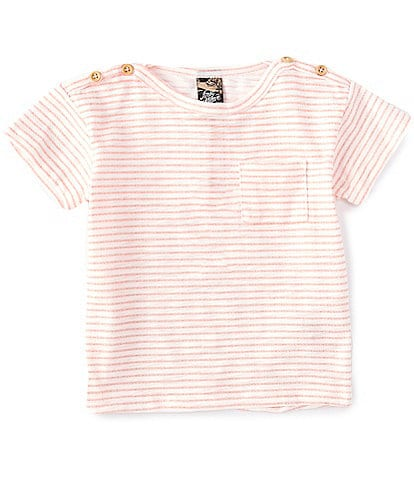 First Wave Baby Boys 12-24 Months Stripe Pocket Front Short Sleeve Tee