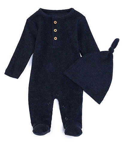First Wave Baby Newborn-9 Months Ribbed Knit Footed Coverall with Hat