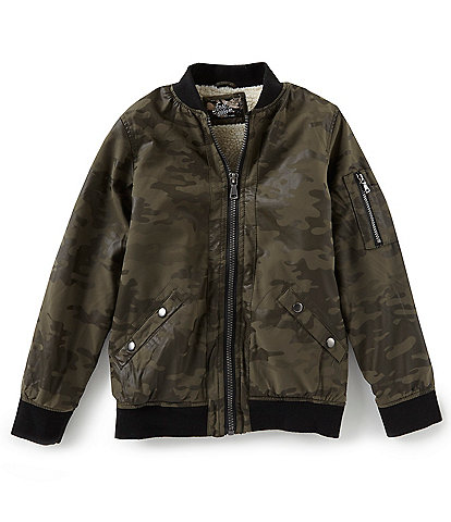 First Wave Big Boys 8-20 Camo Print Faux Leather Bomber Jacket