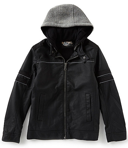 First Wave Big Boys 8-20 Faux Leather Refelective Jacket with Hood