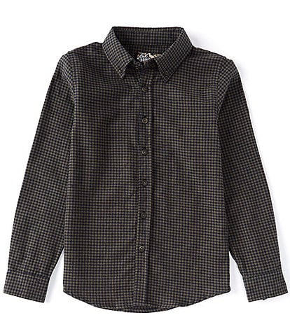 First Wave Big Boys 8-20 Flannel Check Long Sleeve Button Front Shirt