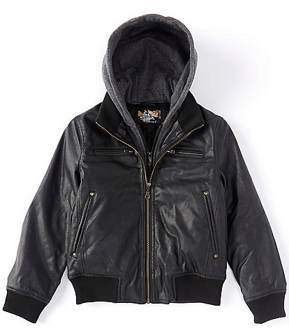 First Wave Big Boys 8-20 Hooded Pleather Bomber Jacket