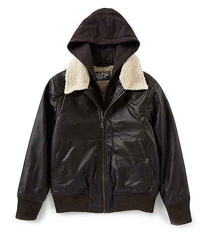 First Wave Big Boys 8-20 Hooded Sherpa Collar Faux Leather Bomber Jacket