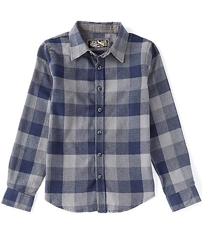First Wave Big Boys 8-20 Long-Sleeve Checked Plaid Button-Front Shirt