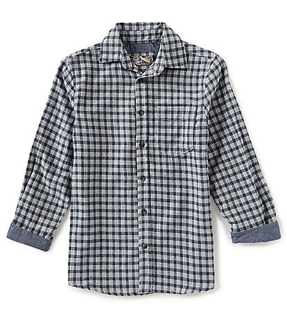 First Wave Big Boys 8-20 Long Sleeve Flannel Mini Checked Woven Shirt