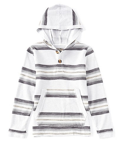First Wave Big Boys 8-20 Long Sleeve French Terry Stripe Hooded Pullover
