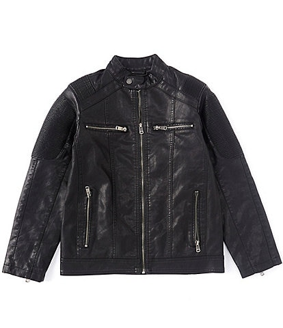 First Wave Big Boys 8-20 Moto Pleather Jacket