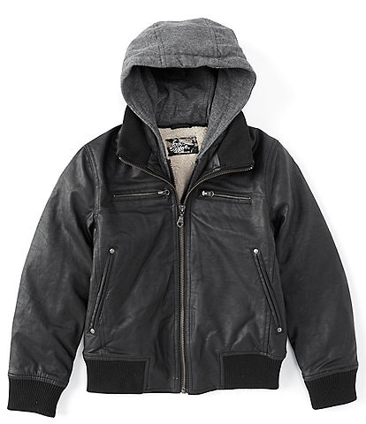 First Wave Big Boys 8-20 Pleather Hooded Bomber Jacket