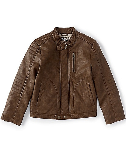 First Wave Big Boys 8-20 Pleather Moto Jacket