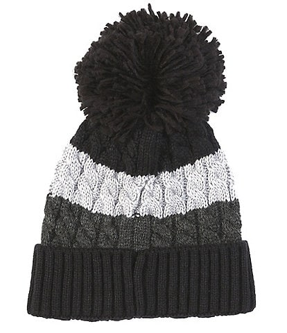First Wave Boys Striped Cable-Knit Pom Beanie