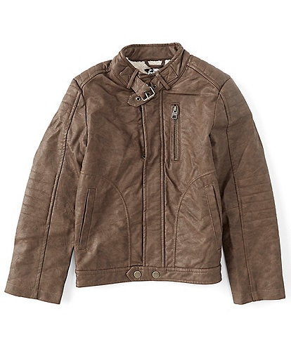 First Wave Little Boys 2T-7 Brown Pleather Moto Jacket
