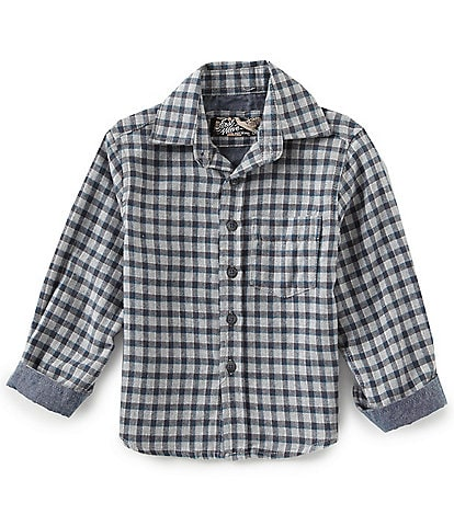 First Wave Little Boys 2T-7 Flannel Mini Checked Long-Sleeve Woven Shirt