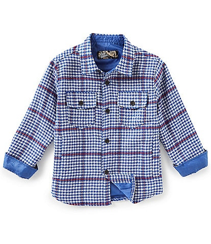 First Wave Little Boys 2T-7 Long-Sleeve Plaid Houndstooth Shirt Jacket