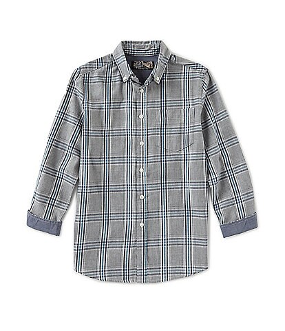 First Wave Little Boys 2T-7 Plaid Woven Button-Front Long Sleeve Shirt