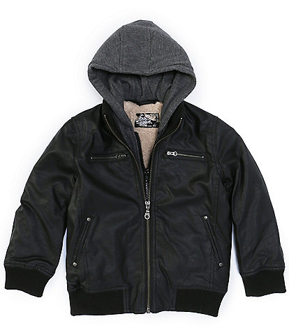First Wave Little Boys 2T-7 Pleather Hooded Bomber Jacket