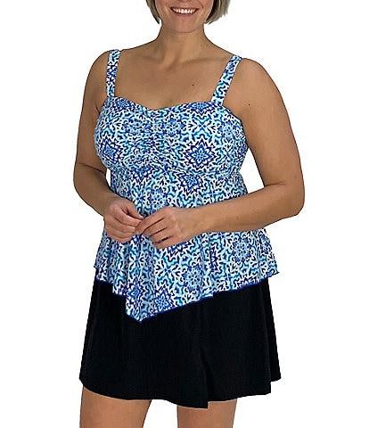 Fit 4 U Plus Size Batik Print Dye It D's & E's Bandeau Flared V-Hem Tankini Swimsuit Top & Solid Skirt Swimsuit Bottom