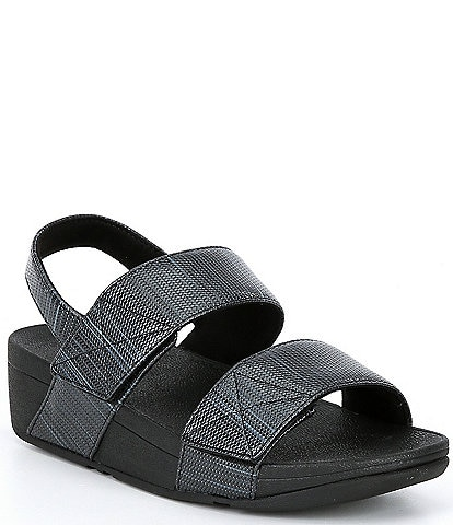 FitFlop Mina Textured Glitz Two Banded Wedge Sandals