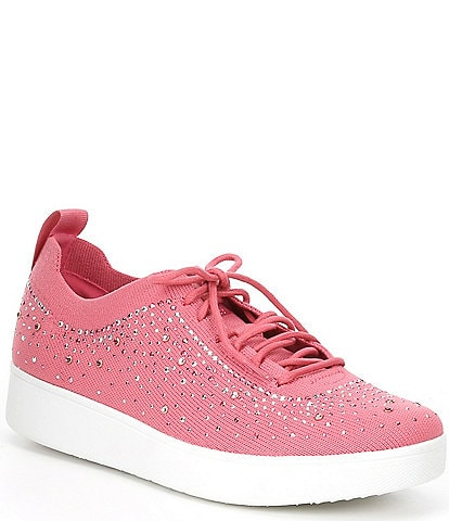 FitFlop Rally Ombre Crystal Embellished Lace-Up Sneakers
