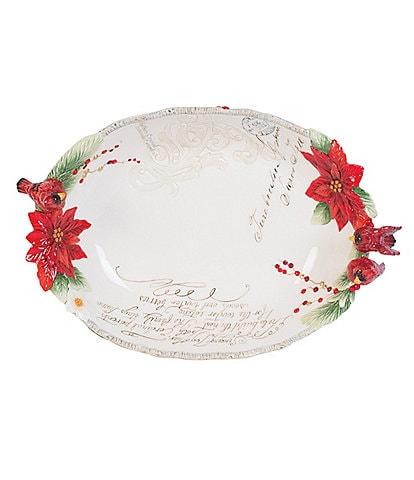 Fitz and Floyd Cardinal Christmas Centerpiece Bowl