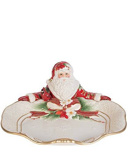 Fitz and Floyd Cardinal Christmas Santa Server