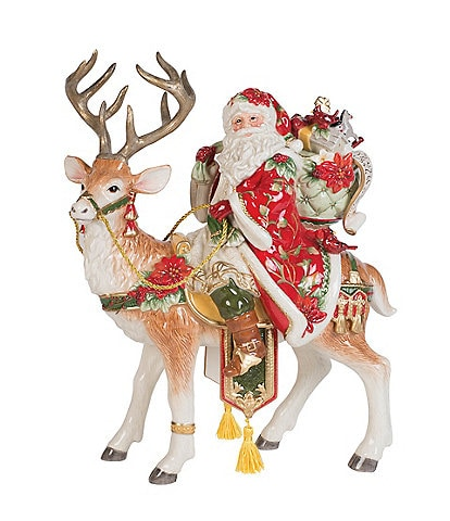 Fitz and Floyd Cardinal Christmas Santa Stag Centerpiece Figurine