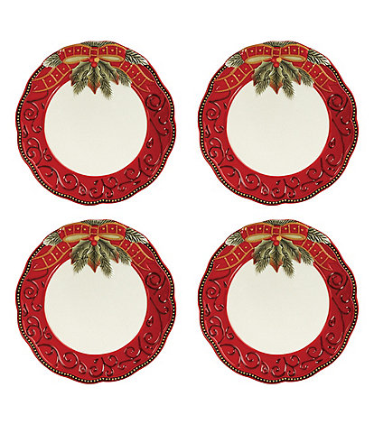 Fitz and Floyd Damask Holiday Salad Plates, Set of 4