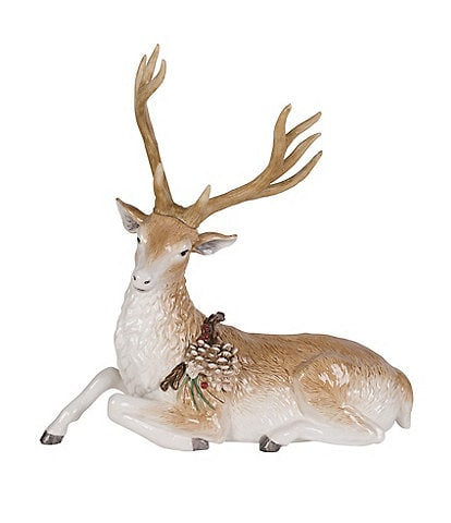 Fitz and Floyd Forest Frost Reclining Deer Figurine