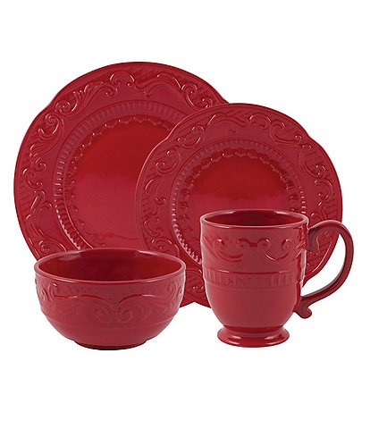 Fitz and Floyd Forest Frost Red 16-Piece Dinnerware Set
