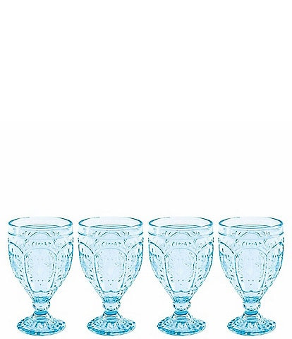 Fitz and Floyd Trestle Aqua Goblets, Set of 4