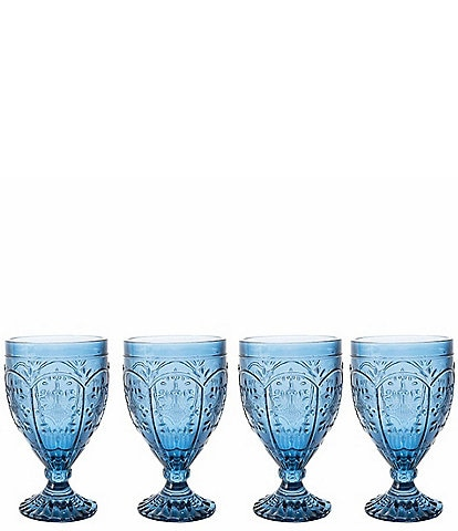 Fitz and Floyd Trestle Indigo Goblets, Set of 4