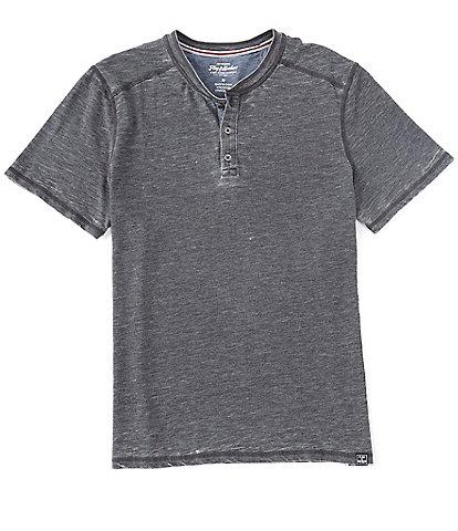 Flag and Anthem Short-Sleeve Burnout Henley Shirt