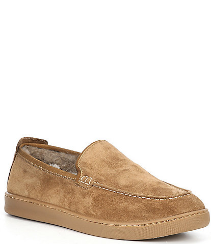 Flag Ltd. Mens' Boardwalk Suede Leather Shearling Lined Loafers