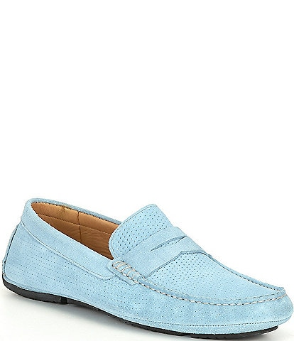 Flag LTD. Men's Morgan Kidsuede Leather Perforated Penny Loafer Moccasins