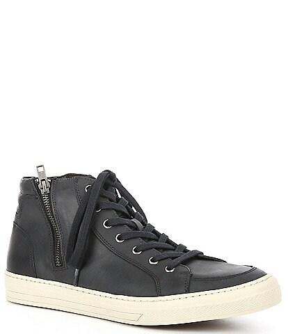 Flag LTD. Men's Vulcon Side Zip Hi Top Leather Sneakers