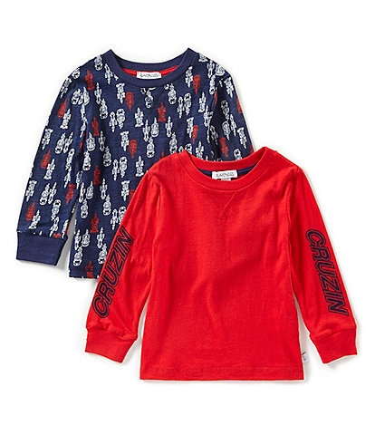 Flapdoodles Baby Boys 12-24 Months Solid/Printed Long-Sleeve Tee Two-Pack Set