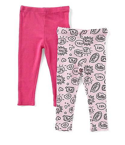 Flapdoodles Baby Girls 12-24 Months Printed Leggings & Solid Leggings Set