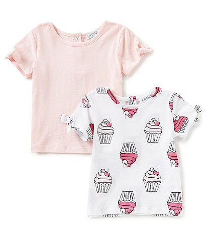 Flapdoodles Baby Girls 12-24 Months Printed Tie-Sleeve 2-Pack Tee Set