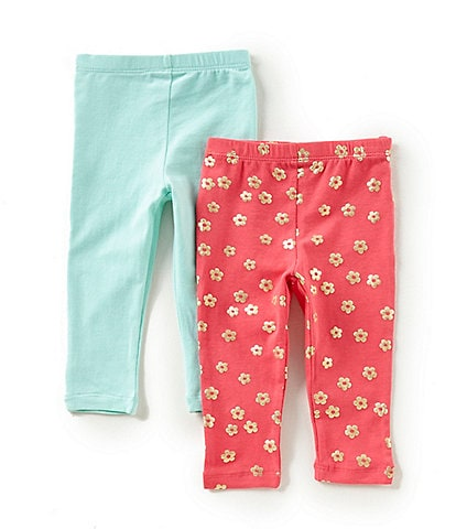 Flapdoodles Baby Girls 12-24 Months Printed/Solid 2-Pack Leggings Set