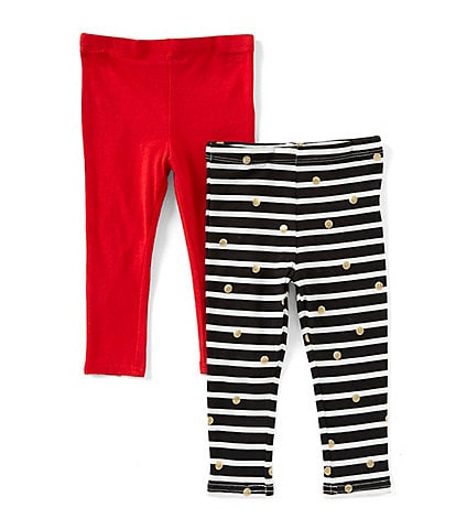 Flapdoodles Baby Girls 12-24 Months Stripe/Dotted Leggings & Solid Leggings Set
