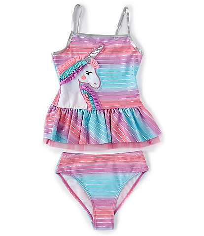 Flapdoodles Big Girls 7-10 Ombre Unicorn Two-Piece Swimsuit Set