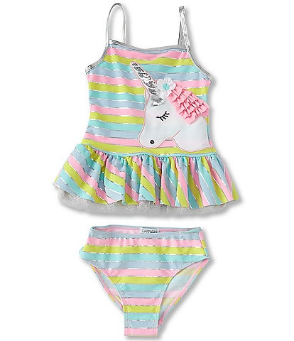 Flapdoodles Big Girls 7-10 Unicorn Tankini Top & Hipster Bottom Two-Piece Swimsuit